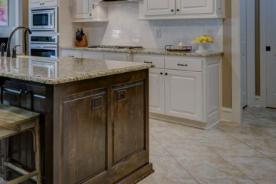 Beautiful stamped concrete kitchen flooring